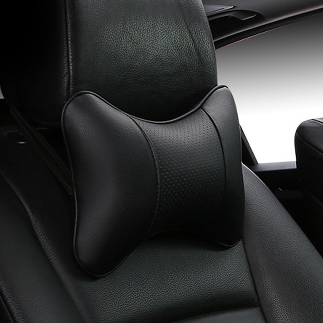 Car Neck Pillows 2 sides Pu Leather head support protector black/red universal headrest backrest cushion easy install and clean