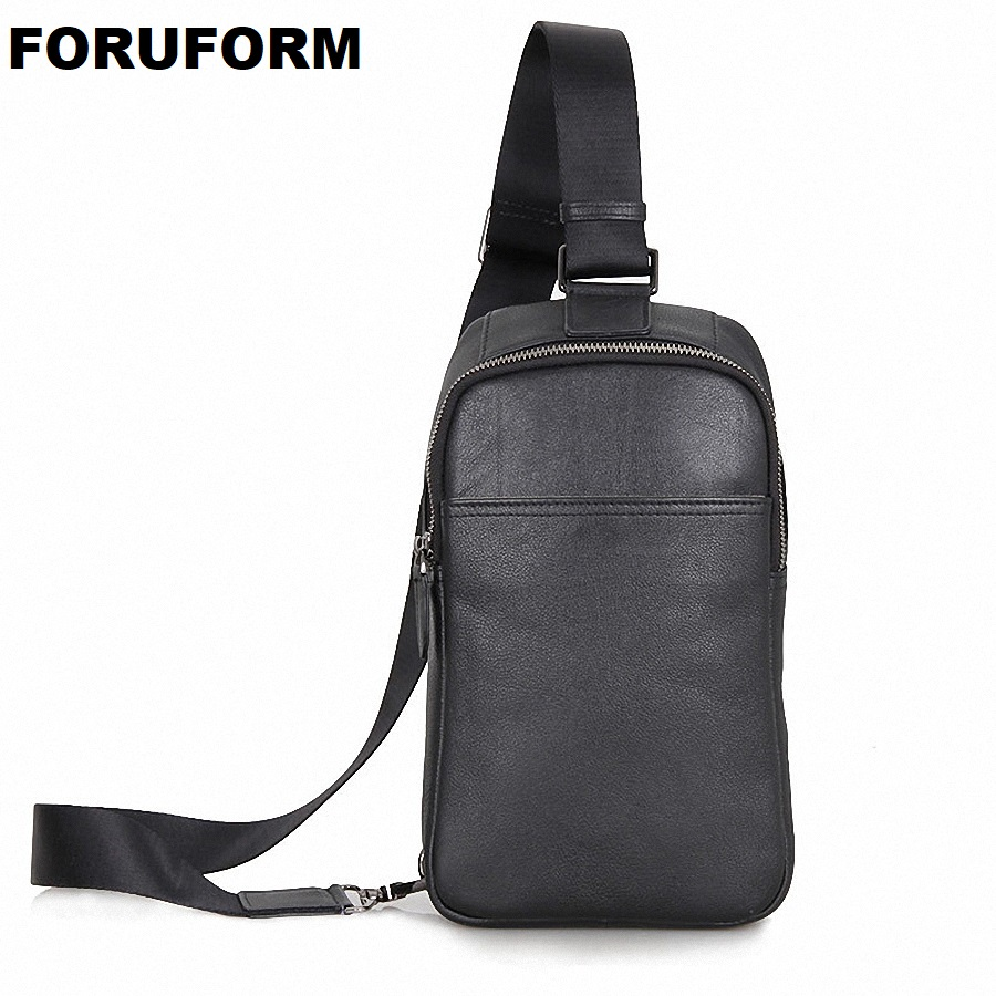 Patchwork Men Genuine Leather Chest Bag Back Pack Mens Messenger Bags Vintage Unbalance Male Shoulder Sling Bag LI-1587 men s genuine leather belt buckle back pack shoulder messenger unbalance sling chest bag