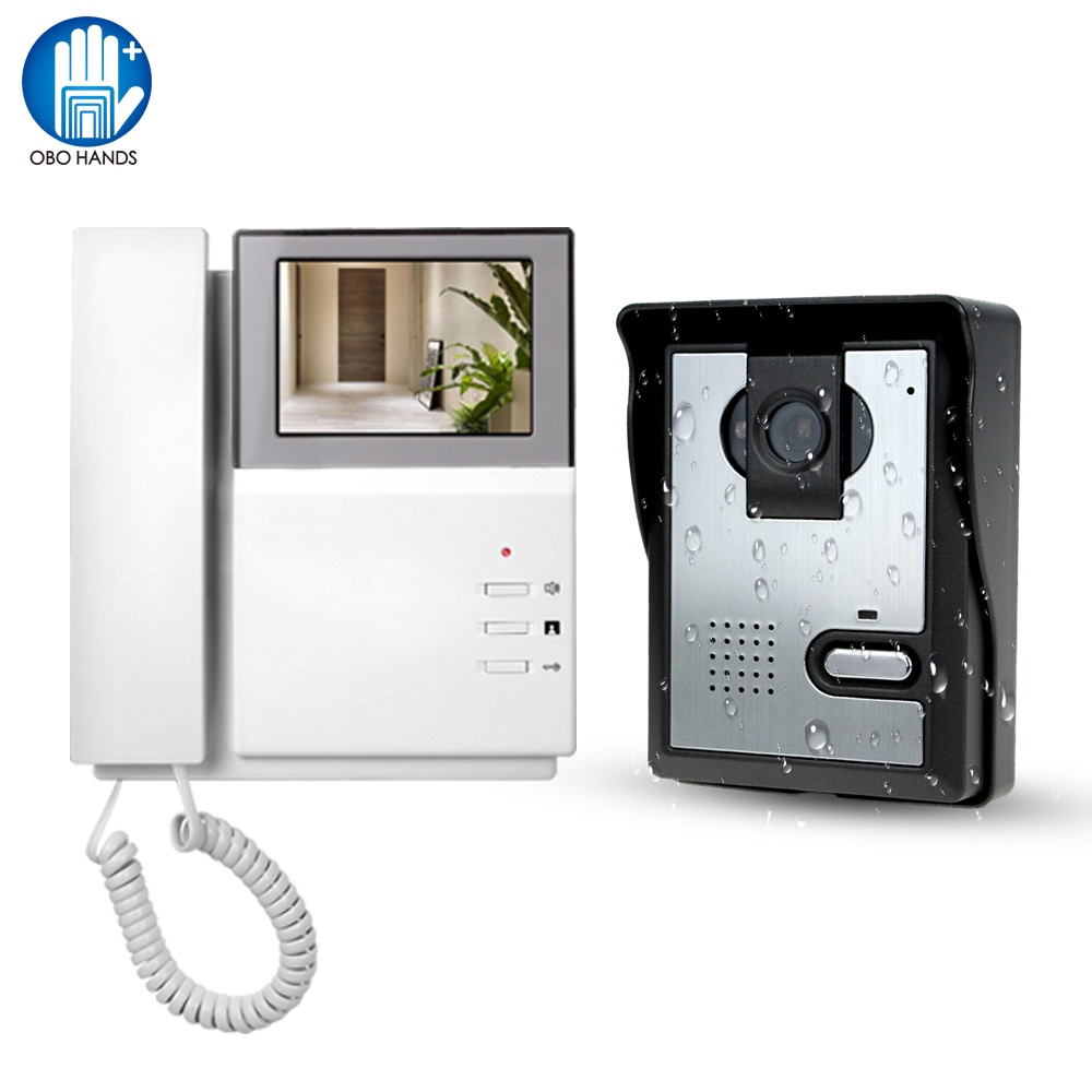 Video Door Phone System 4 3 Clear LCD Monitor Wired Video Intercom Doorbell Kits Night Vision