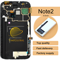 10pcs 100% tested working Original New For Samsung Galaxy Note 2 N7100 LCD Digitizer Assembly with frame -white /Grey