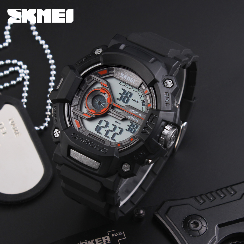 SKMEI 1233 Mannen Sport Horloges Multifunctionele LED Mode Digitale - Herenhorloges - Foto 3