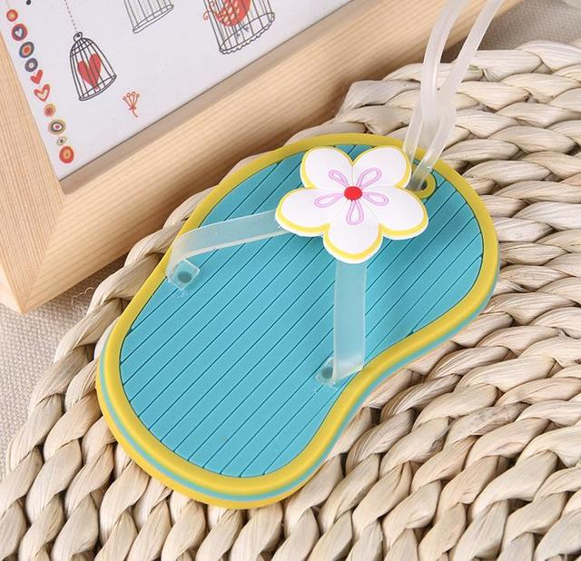 014933fb617e9 100pcs Flip Flop Shape Luggage Tag Trunk Cards Strip Suitcase Label Bags  Tags Travel Accessories Wedding
