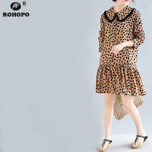 ROHOPO Doll collar Preppy Sweet Leopard Dress Long Sleeve Tassel Collar Ruffles Lantern Top Buttons Vestido #UK9020