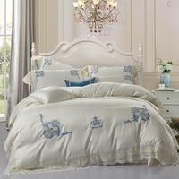 Кремового цвета роскошные короны постельных принадлежностей дизайнер постельное белье набор королева король пододеяльник из египетского