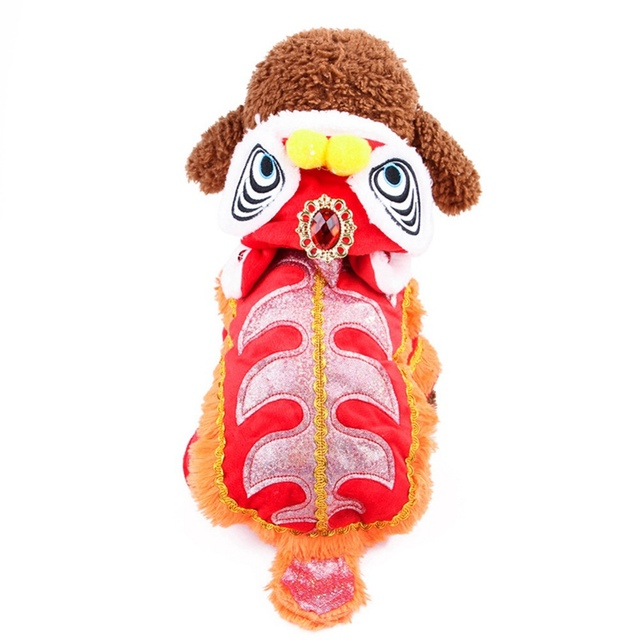 Spring Festival Dog Coat Winter puppy costume pet Lion dance clothes small dog cat Tang suit new year cat jacket Cosplay Costume