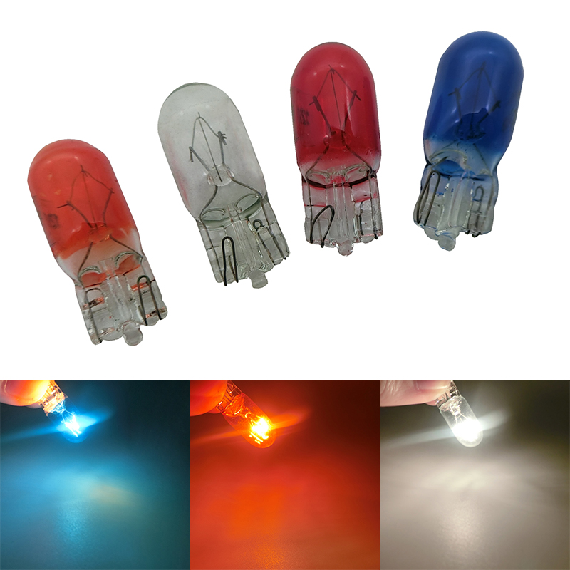 10x T10 Halogen Bulb W5W W3W White Amber Color 12V 3W 194 158 Side Wedges Car Light Source Instrument Lights Halogen Lamp Red