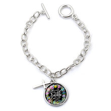 VILLWICE New Spiritual Psalm Bracelet Glass Dome Cross Faith Charms Bracelet For Women Bible Verse Christian Jewelry Gifts(China)