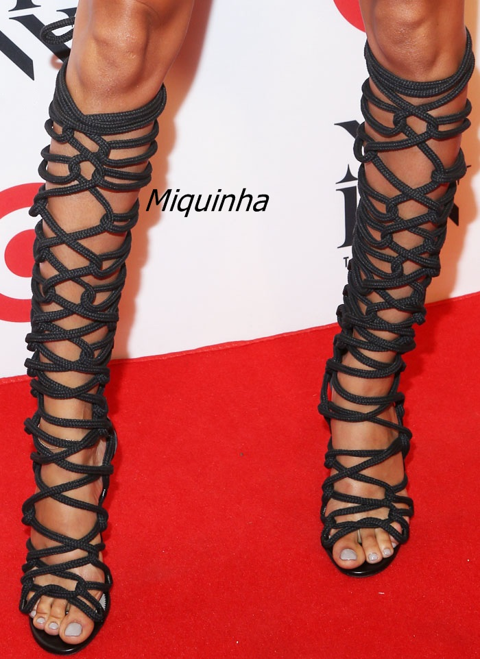 51968408e1c US $88.25 5% OFF Stylish Rope Style Lace Up Knee High Sandal Booties Sexy  Strappy Open Toe Stiletto Heel Gladiator Sandals Fashion Dress Shoes-in  High ...