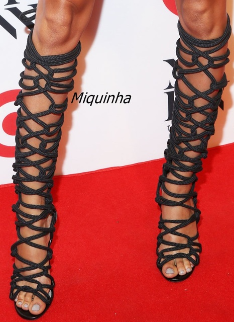 2eec6c5c0 Stylish Rope Style Lace Up Knee High Sandal Booties Sexy Strappy Open Toe Stiletto  Heel Gladiator Sandals Fashion Dress Shoes