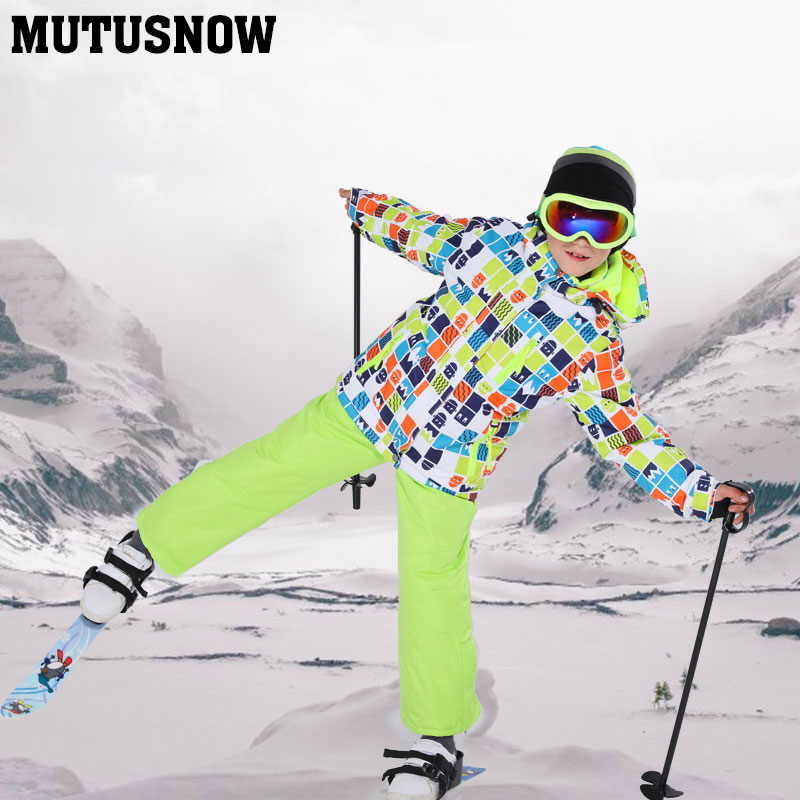 2019 New Children's Ski Suit For Kids Windproof Waterproof Warm Boys Snow Jacket And Pants Winter Snow Ski Snowboarding Suit Set