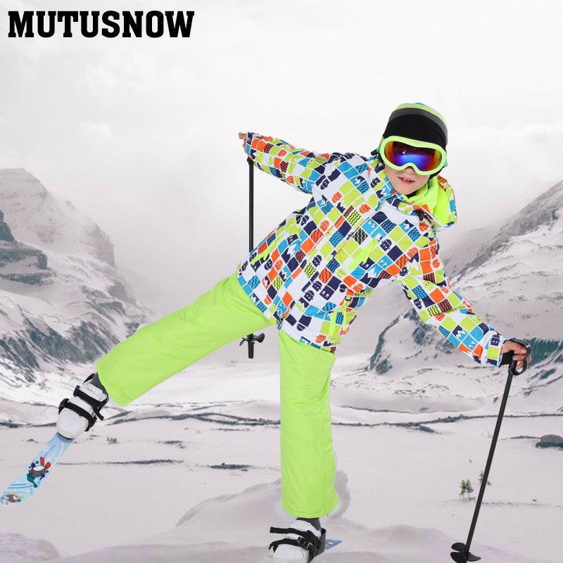 2019 nouveau costume de Ski pour enfants coupe-vent imperméable à l'eau chaud garçons veste de neige et pantalon hiver neige Ski snowboard costume ensemble