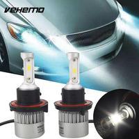Vehemo Bulb Head Lamp LED Headlight Kit 2Pcs Set White DC 12V Universal Front Light Accessories