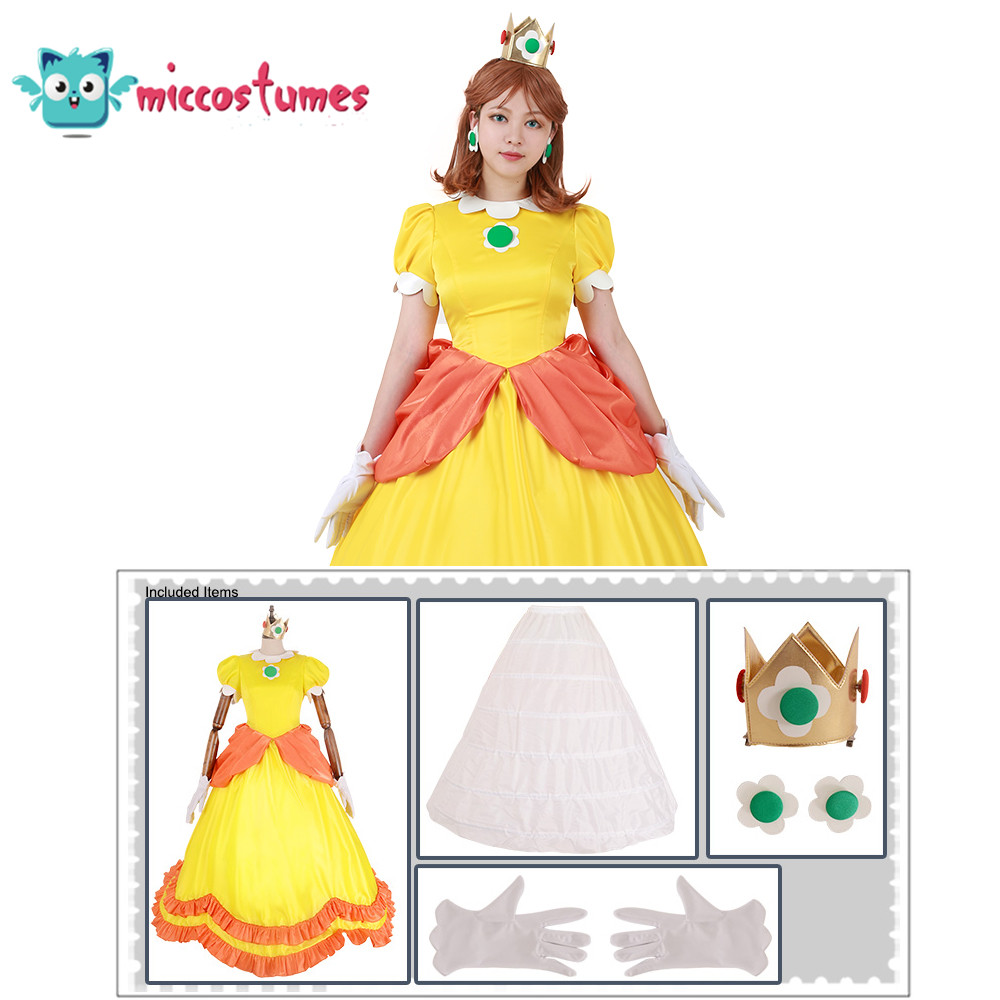 Princess Daisy Costume Woman Yellow Long Dress 2