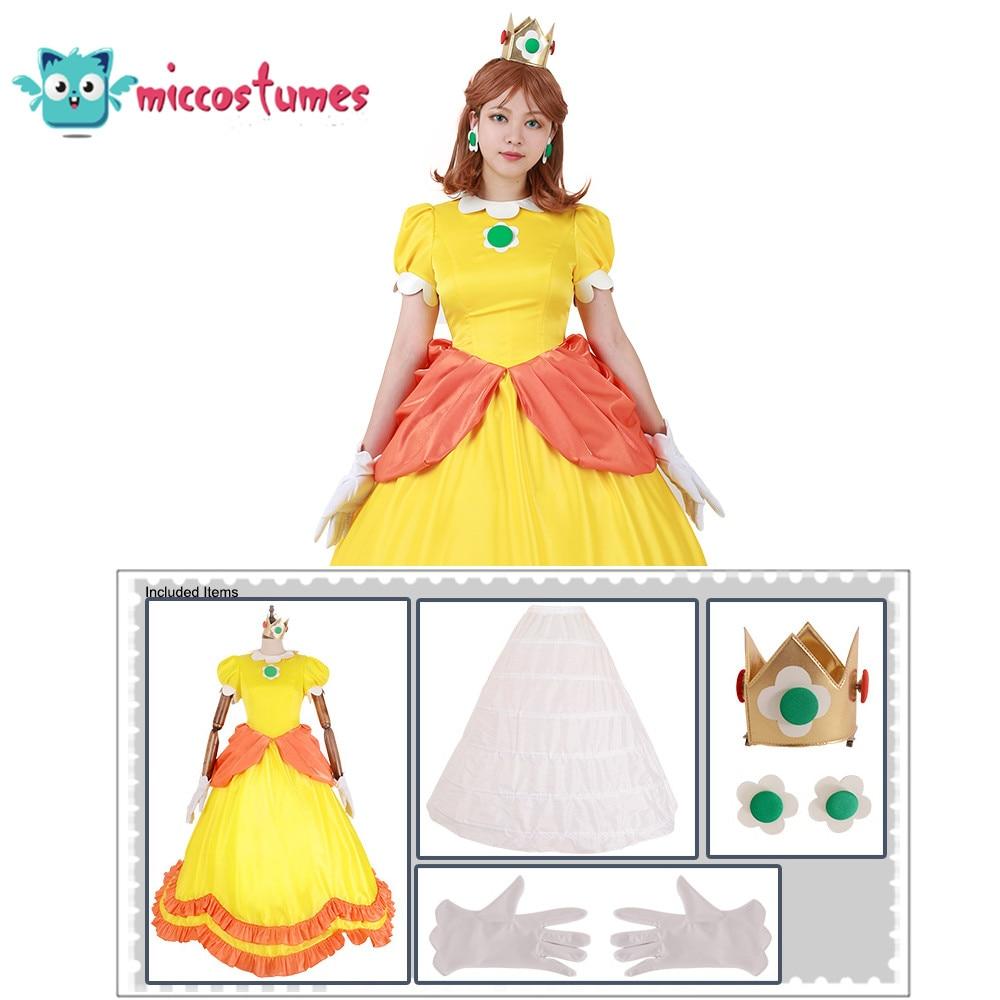 Princess Daisy Costume Woman Yellow Long Dress 2
