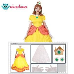 Image 2 - Vestido longo amarelo da princesa daisy, fantasia, mulher, vestido longo