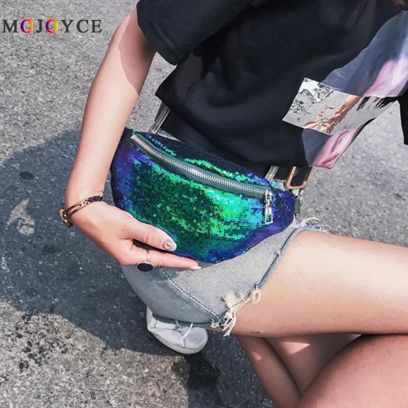 Shinning Sequins Women Waist Bag Lady Fashion Designer Belt Bag Solid Color Fanny Pack Heuptas