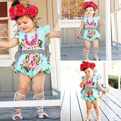 2017 Cute Newborn Baby Girl Floral Romper Summer Toddler Kids Jumpsuit Outfits Sunsuit One Pieces Baby Clothes summer newborn infant baby girl romper short sleeve floral romper jumpsuit outfits sunsuit clothes