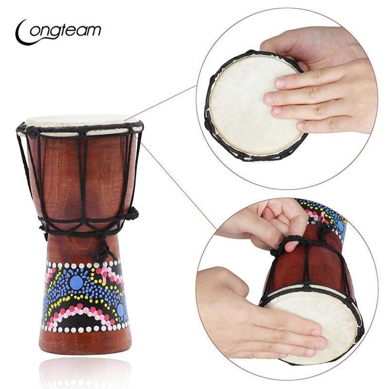 4 inch Professional African Djembe Drum Bongo Wood Good Sound