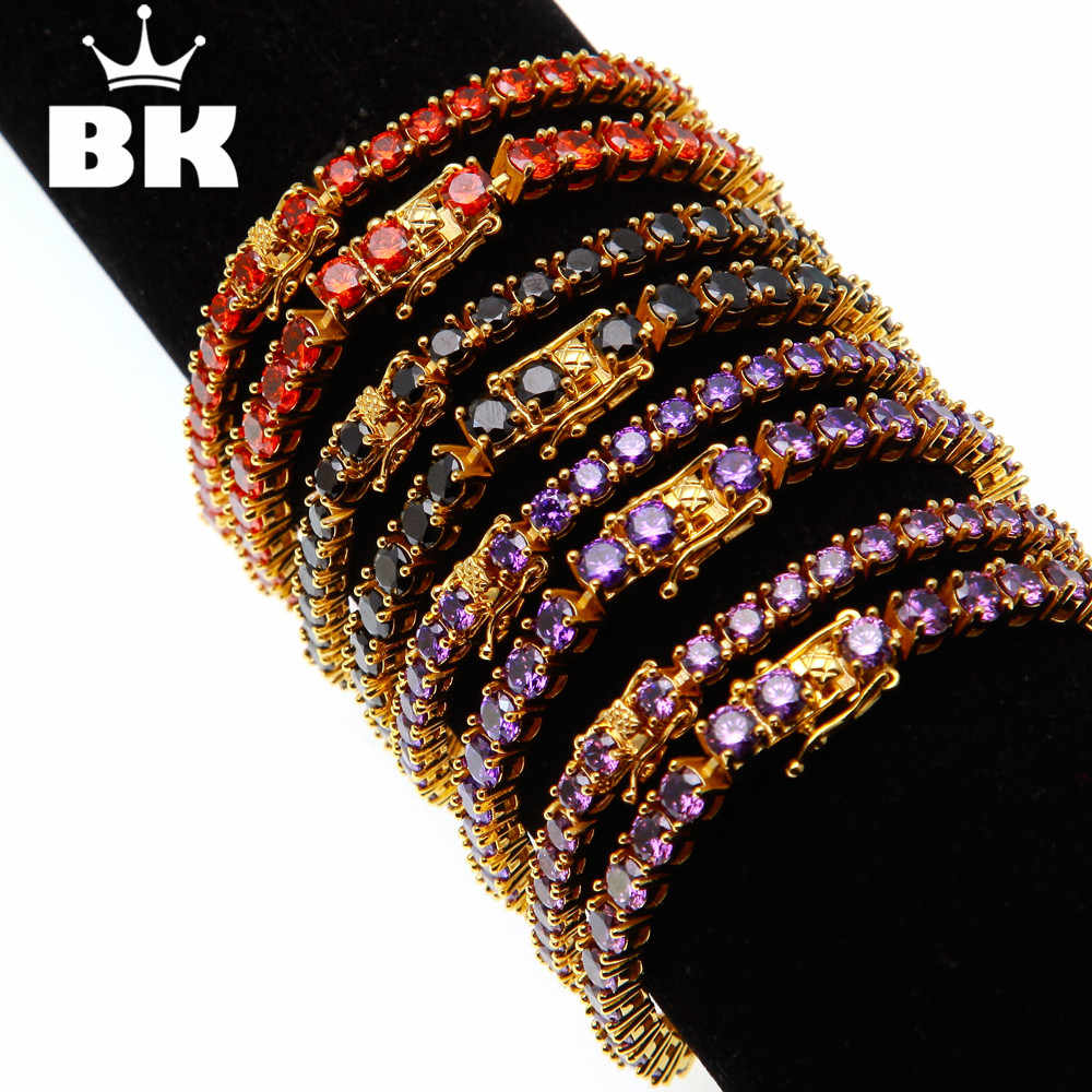 Lavender Purple Red Black Color CZ Stone 3mm/4mm Round Cut Multi-Color Tennis Bracelet Chains Exquisite Women Hip Hop For Men