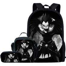Jackherelook 3Pcs/Set Anime Death Note Ryuuku Print Kids School Bags for Boys Girls Deathnote Backpack Student Schoolbag Mochila