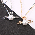 Pretty Love Heart Hollow Imitation Pearl Double Wings Choker Pendant Necklaces for Women Girl Jewelry Gifts