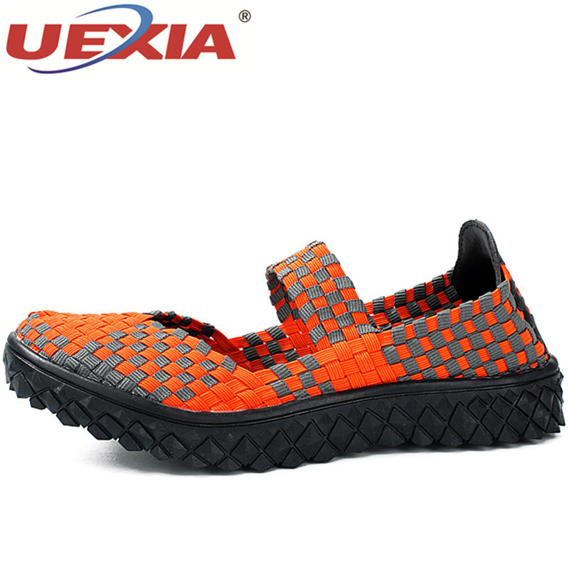 UEXIA Women Summer Casual Shoes Flats Breathable Shoes Mother Footwear Slip On Women loafers Female Woven Shoes Sneakers Trainer цена