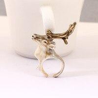 Fashion Women's Luxury Ring European Original Classic Reindeer Hatch Ring Enamel Glaze Animal Ornaments Party Jewelry