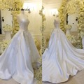 ZYLLGF Bridal Ball Gown Strapless Satin Wedding Dresses Dubai Court Train Wedding Gown Gelinlik 2017 With Appliques VN20