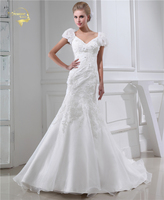 Jeanne Love New Design Wedding Dresses 2017 Casamento Bridal Gown Short Sleeves V Robe De Mariage