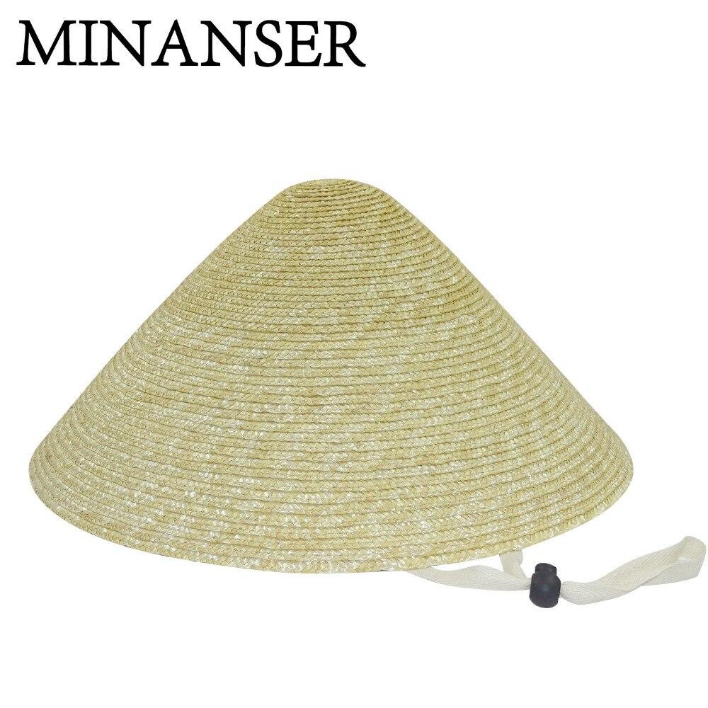 9f2fbcc98 Brimmed Bamboo Straw Hat Tourism Rain Cap Cone Conical Farmer Unisex ...