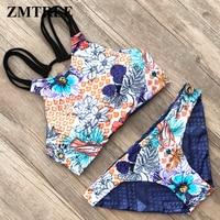 ZMTREE High Neck Bikinis Set Double Sided Women Swimwear Bandage Swimsuit Cross Back Bikini Bathing Suit