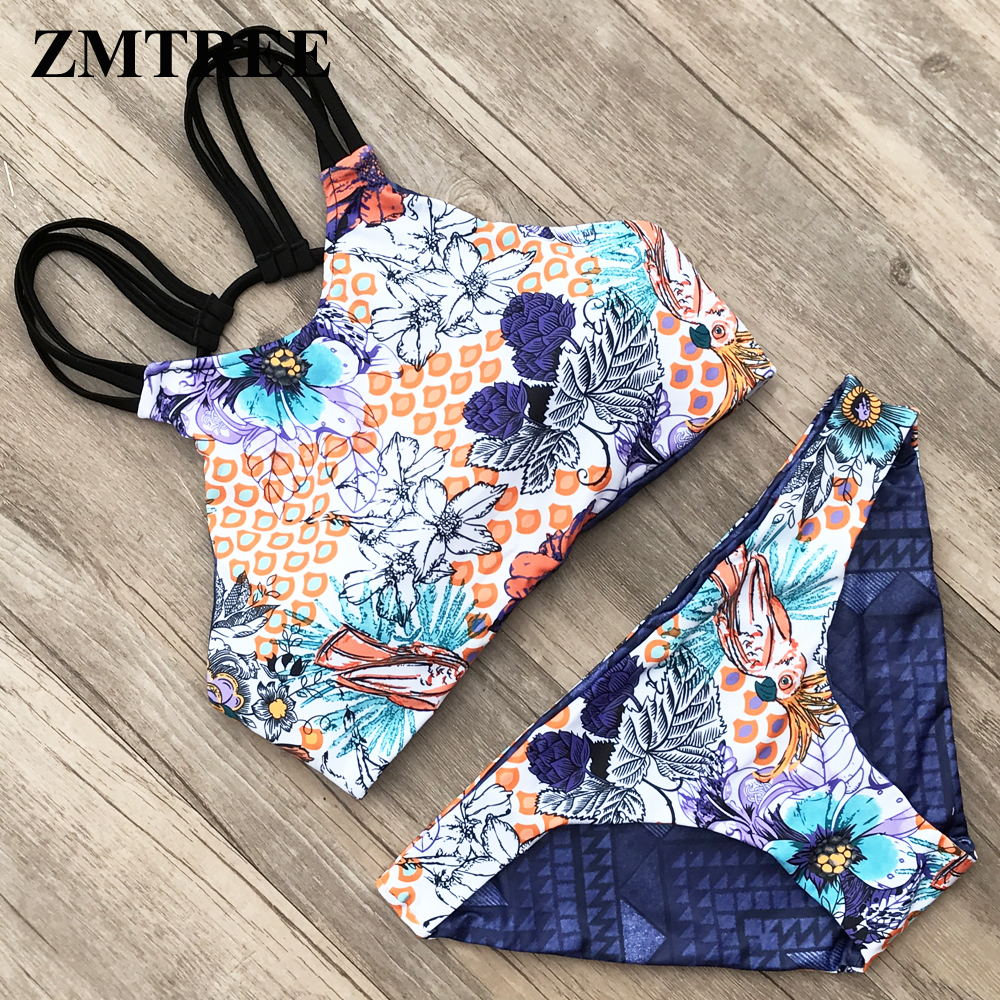 ZMTREE High Neck Bikinis Set Double Sided Women Swimwear Bandage Swimsuit Cross Back Bikini Bathing Suit Maillot De Bain 2018 XL