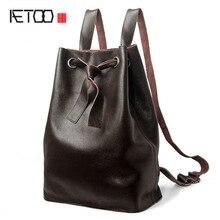 Aetoo из натуральной яловой кожи женские рюкзаки модный дизайн женская повседневная школьная сумка для девочки известной марки большой урожай