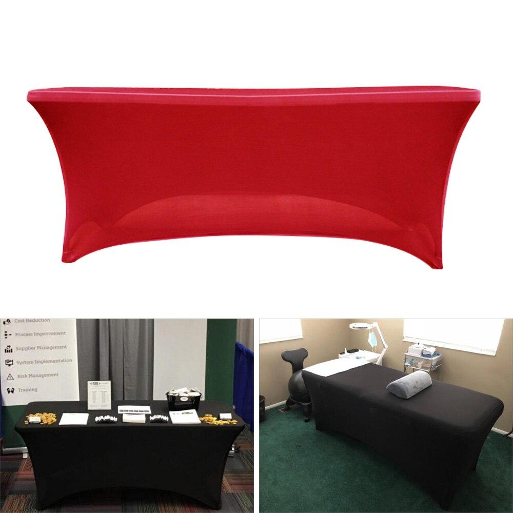 Estiramento toalha de mesa elastano poliéster capa de mesa apto para a festa de casamento do hotel decoração para casa reunião retangular 4ft/6ft/8f