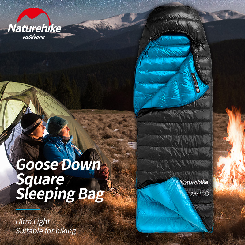 Naturehike CW400 Goose Down Square Sleeping Bag Ultra Light Camping Hiking Winter Thicken Warm Sleeping Bags