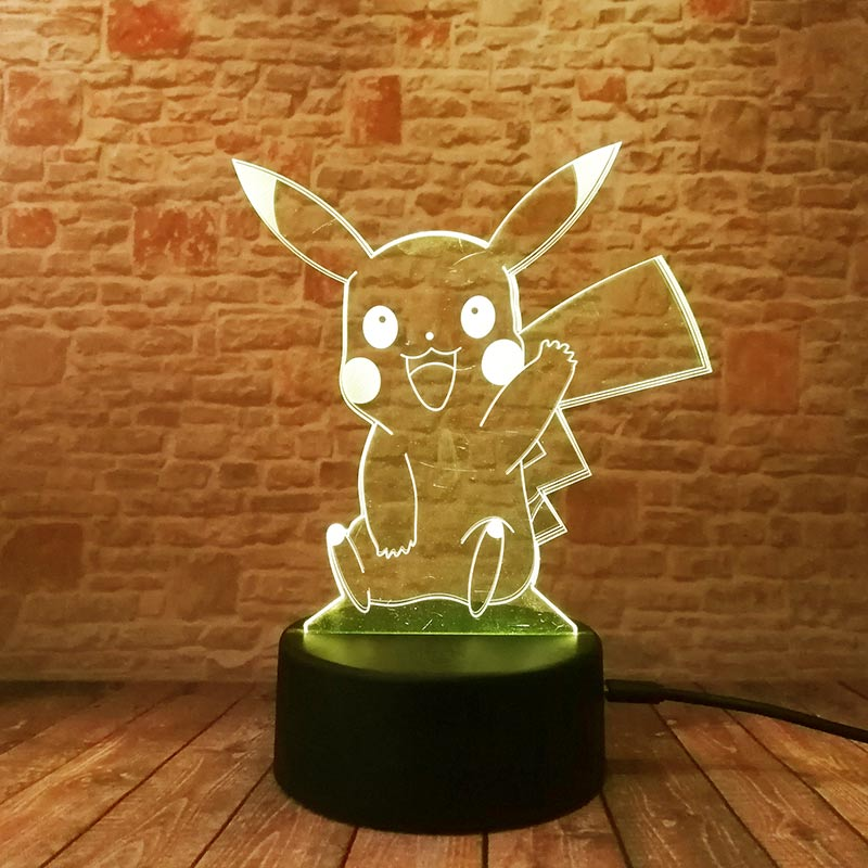 3D Illusion LED NightLight Colourful Flash Light Glow in the Dark Nigh Desk Lamp Pikachu Figure Toys