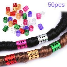 50Pcs 6 Colors Dreadlock Beads Adjustable Hair Braids Cuff Clip Micro Ring Beads 1*1 Cm(China)