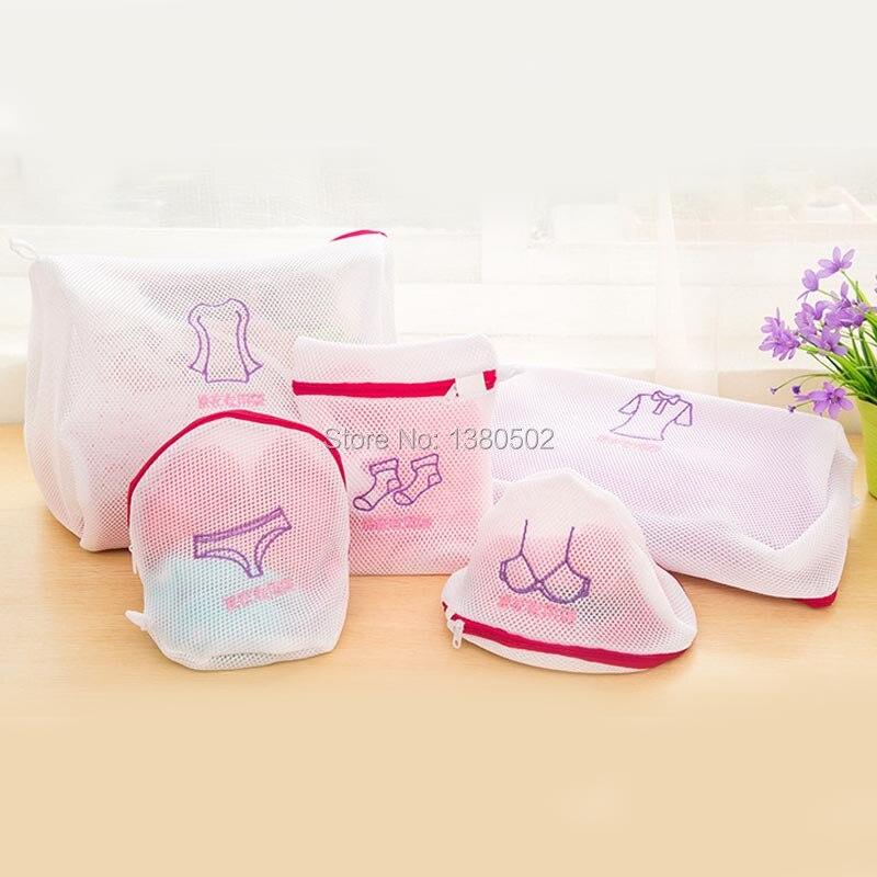 5pcs/lot Practical Portable Women Mesh Bag Nylon Baskets Hosiery Shirt Sock Underwear Laundry Bags for washing machine