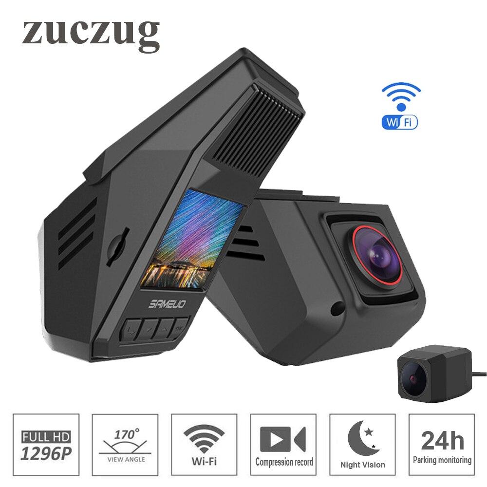 ZUCZUG caché voiture DVR wifi 1296 P Vision nocturne universel Dash Cam enregistreur sans fil double caméras g-sensor surveillance de stationnement