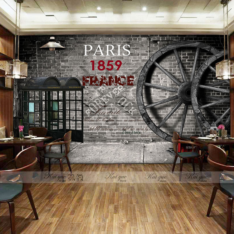 Custom photo wallpaper 3D retro wheel imitation brick wall wallpaper mural bar restaurant lounge hotel wallpaper high quality stainless steel wire drawing water glass holder panel 1pcs for lexus 2016 rx200 rx450h accessories