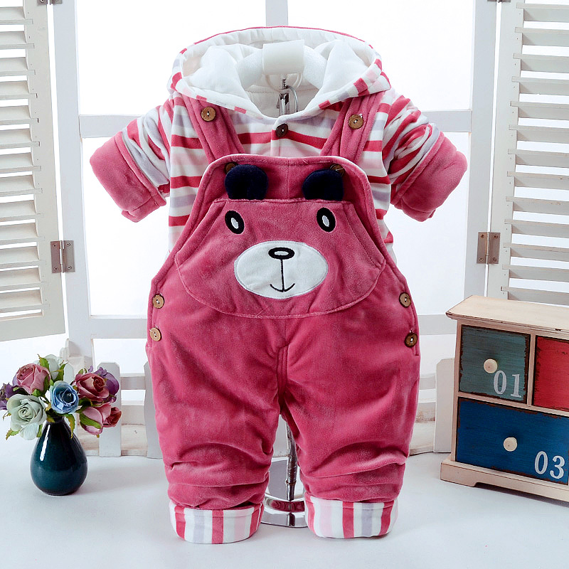 2017 Autumn Winter Red Thicken Long Sleeve+Suspender Trousers 0-2T Baby Infant Boy And Girl 2 Pieces Overalls Children's Clothes