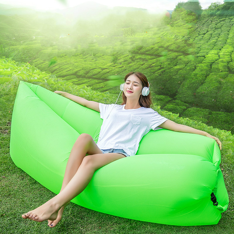 Checked cloth Outdoor portable pneumatic sofa Bed Folding inflatable sleeping bag on beach Double port Double-deck Lazy sofa folding air bag sofa portable inflatable sofa lazy sofa outdoor beach easy use fashion swim bed toy camping travel supply gift