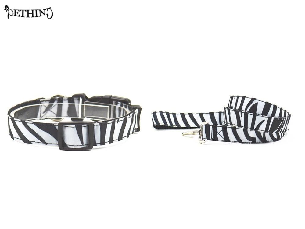 Nylon Zebra Style Puppy dog collar leash Adjustable pet collar lead set S L choice easy fit small medium dog collar lead brands