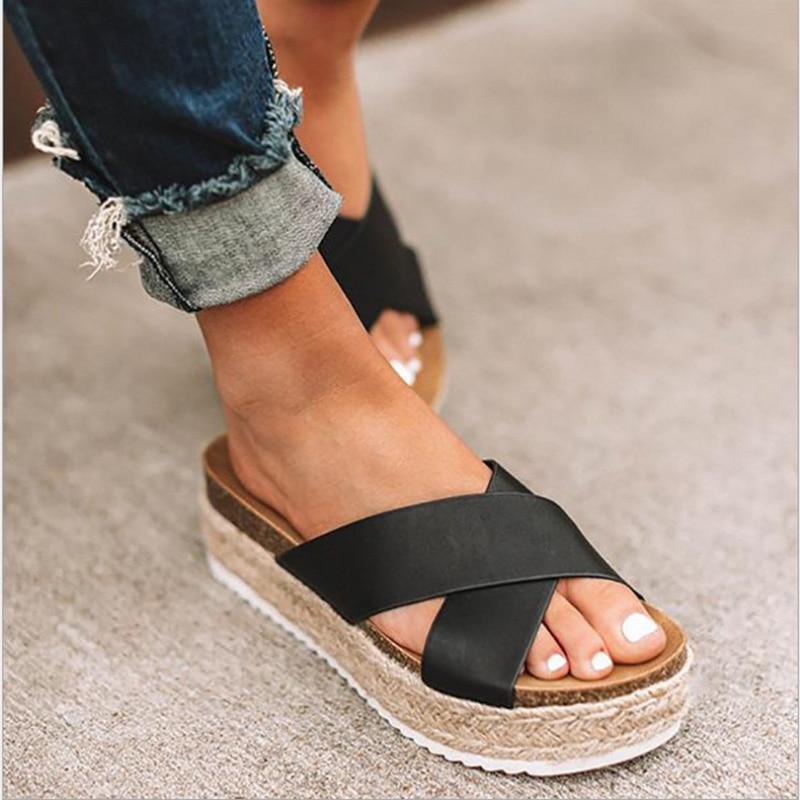 Womens Summer Platform Slipper Espadrille Wedge Sandals Casual Flip Flops Shoes