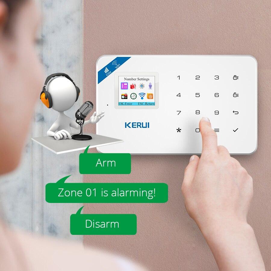 Détecteur de mouvement KERUI W18 1,7 pouce écran TFT WIFI GSM système d'alarme anti-intrusion pour la maison détecteur de fumée APP détecteur d'incendie - 4