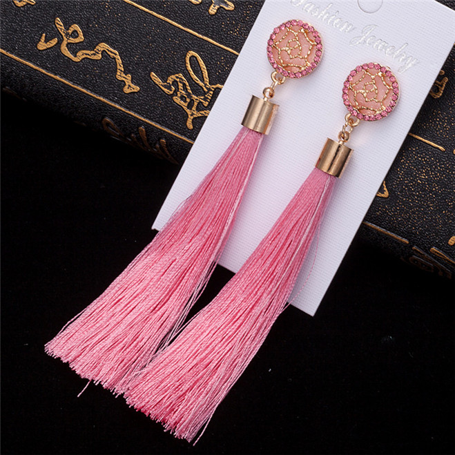 HTB1r qsV4TpK1RjSZFMq6zG VXao - HOCOLE Bohemian Crystal Tassel Earrings Black White Blue Red Pink Silk Fabric Long Drop Dangle Tassel Earrings For Women Jewelry