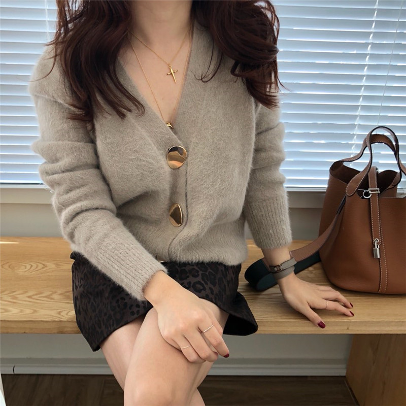 RUGOD Solid Elegant Women Cardigans Casual V-Neck Cashmere Knitted Women Sweaters Slim Autumn Winter Clothes jersey mujer 19 13