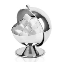 Stainless Steel Kitchen Spherical Sugar Bowl Seasoning Bottle Spice Tank Can Flip