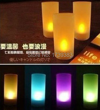 100pcs/lot Colorful Voice Control LED Flameless Candle Light,Romantic creative Propose/Party Electronic Flickering Tea Lights