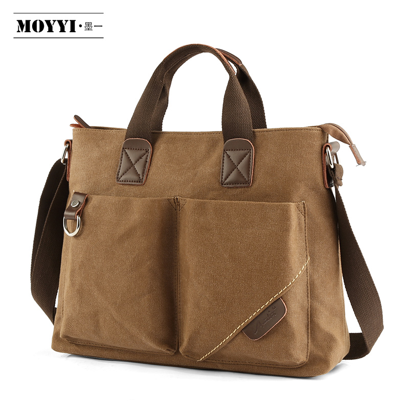 MOYYI Practical Business Messenger Bags For Men Student A++ Canvas Crossbody Shoulder Pack Retro Solid Casual Office Travel Bag